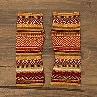 Alpaca blend fingerless gloves, 'Vibrant Warmth' - Colorful Alpaca Blend Fingerless Gloves from Peru