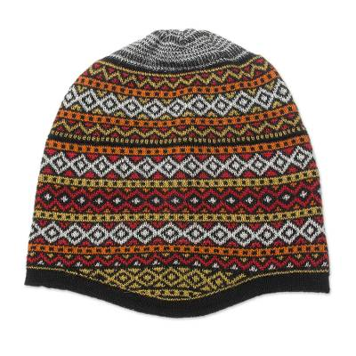 White and Multicolored Alpaca Blend Knit Hat from Peru