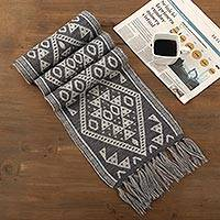Reversible alpaca blend scarf, 'Inca Slate' - Alpaca Blend Wrap Scarf in Slate and White from Peru