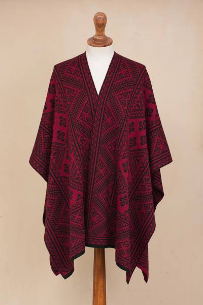 Alpaca blend ruana, 'Exquisite Inca' - Knit Alpaca Blend Ruana in Burgundy and Black from Peru