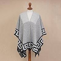 Alpaca blend ruana, 'Grey Inca' - Inca-Inspired Alpaca Blend Ruana Crafted in Peru