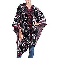 Alpaca blend poncho, 'Inca Diamonds' - Diamond Motif Alpaca Blend Poncho from Peru