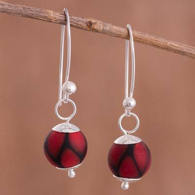 Art glass dangle earrings, Murano Passion