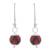 Art glass dangle earrings, 'Murano Passion' - Red Murano Style Art Glass Dangle Earrings from Peru (image 2a) thumbail