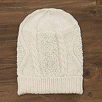 100% alpaca knit hat, 'Alabaster Diamonds' - 100% Alpaca Knit Hat in Alabaster from Peru