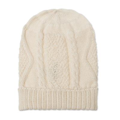 100% Alpaca Knit Hat in Alabaster from Peru
