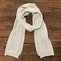 100% alpaca scarf, 'Alabaster Diamonds' - 100% Alpaca Knit Wrap Scarf in Alabaster from Peru