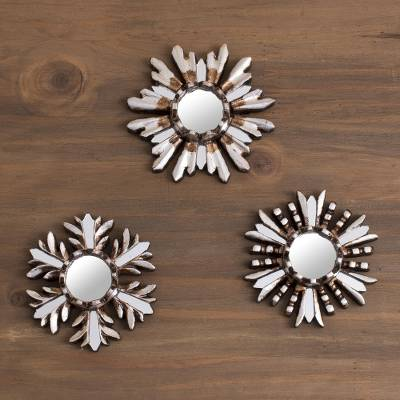 Aluminum wall mirrors, 'Snowy Reflection' (set of 3) - Aluminum and Cedar Wood Snowflake Wall Mirrors (Set of 3)