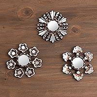 Aluminum wall mirrors, 'Floral Reflection' (set of 3) - Floral Aluminum and Cedar Wall Mirrors (Set of 3)