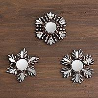 Aluminum wall mirrors, 'Snowflake Reflection' (set of 3) - Snow-Themed Aluminum and Cedar Wall Mirrors (Set of 3)