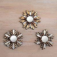Bronze wall mirrors, 'Snowy Reflection' (set of 3) - Snow-Themed Bronze and Cedar Wall Mirrors (Set of 3)
