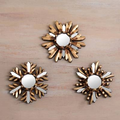 Bronze gilded cedar wood wall mirrors, Snowy Reflection (set of 3)