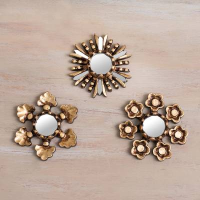Bronze gilded mini wall accent mirrors, 'Floral Reflection' (set of 3) - Floral Bronze Gilded Mini Accent Mirrors (Set of 3)