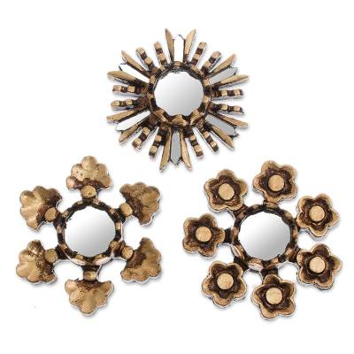 Floral Bronze Gilded Mini Accent Mirrors (Set of 3)