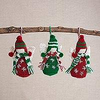 Crocheted ornaments, 'Snow Angels' (set of 3) - Hand Crocheted Snow Angel Ornaments (Set of 3)
