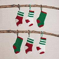 Acrylic ornaments, 'Warm Stockings' (set of 6) - Acrylic Hand Crocheted Holiday Stocking Ornaments (Set of 6)