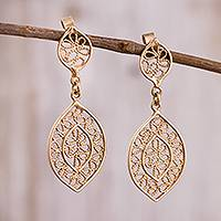 Gold plated sterling silver filigree dangle earrings, 'Drops of Autumn' - Leaf-Shaped Gold Plated Sterling Silver Filigree Earrings