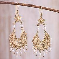 Gold plated cultured pearl filigree chandelier earrings, 'Artisanal Gala' - 24k Gold Plated Cultured Pearl Filigree Chandelier Earrings