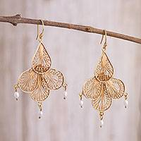 Gold plated cultured pearl filigree chandelier earrings, 'Sunrise Petals' - Gold Plated Cultured Pearl Chandelier Earrings from Peru