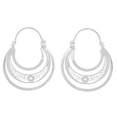 Sterling silver filigree hoop earrings, 'Artisanal Crescent Moons' - Sterling Silver Filigree Hoop Earrings from Peru