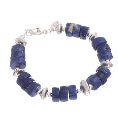 Sodalite beaded bracelet, 'Cool Universe' - Natural Sodalite Beaded Bracelet from Peru