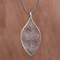 Sterling silver filigree pendant necklace, 'Latin Leaf' - Sterling Silver Filigree Leaf Pendant Necklace from Peru
