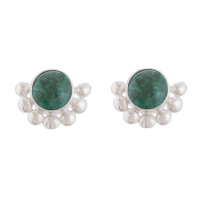 Circular Chrysocolla Button Earrings from Peru