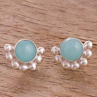 Opal button earrings, 'Bauble Delight' - Round Opal Button Earrings Crafted in Peru