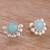 Opal button earrings, 'Bauble Delight' - Round Opal Button Earrings Crafted in Peru (image 2b) thumbail