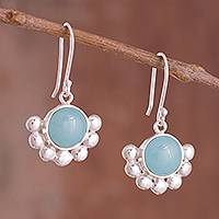 Opal dangle earrings, 'Bauble Delight' - Round Opal Dangle Earrings Crafted in Peru