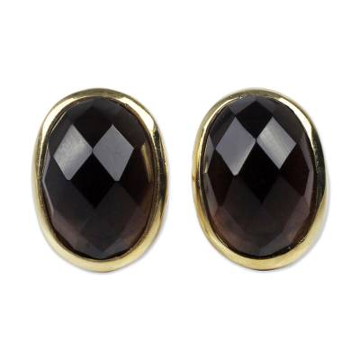 Obsidian and 18K Gold Plated Sterling Silver Button Earrings