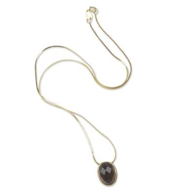 Obsidian 18K Gold Plated Sterling Silver Pendant Necklace