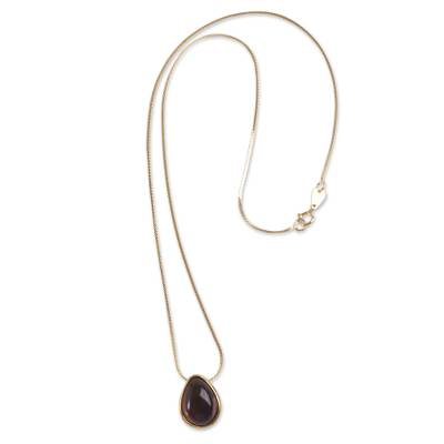 Obsidian Pendant Necklace 18K Gold Plated Sterling Silver