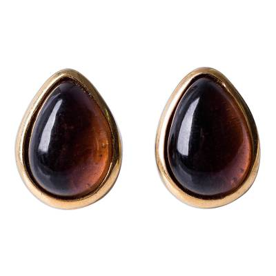 18K Gold Plated Sterling Silver Obsidian Button Earrings