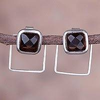 Obsidian drop earrings, 'Faceted Windows' - Square Obsidian and Sterling Silver Two-in-One Drop Earrings