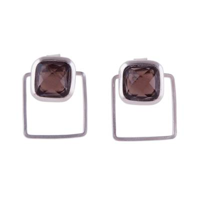 Square Obsidian and Sterling Silver Two-in-One Drop Earrings