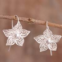 Sterling silver filigree drop earrings, 'Bright Petals' - Floral Sterling Silver Filigree Drop Earrings from Peru