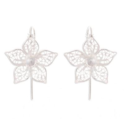 Sterling silver filigree drop earrings, 'Bright Petals' - Floral Sterling Silver Filigree Drop Earrings from Peru