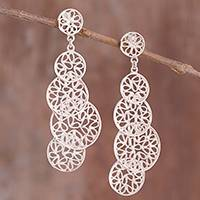 Sterling silver filigree dangle earrings, 'Moonlight Circles'
