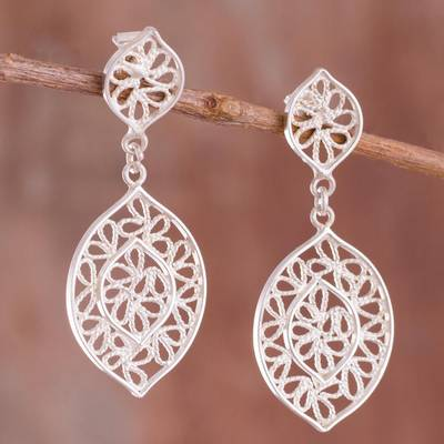 700745cab Sterling silver filigree dangle earrings, 'Drops of Autumn' - Leaf-Shaped  Sterling
