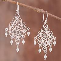 Cultured pearl filigree chandelier earrings, 'Beautiful Gala' - Cultured Pearl Filigree Chandelier Earrings from Peru