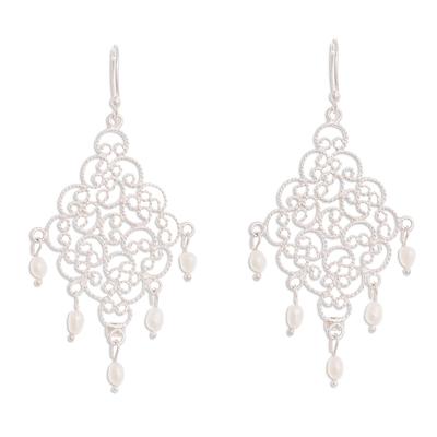 Cultured pearl filigree chandelier earrings, 'Beautiful Gala' - Cultured Pearl Filigree Chandelier Earrings from Peru