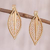 Gold plated sterling silver filigree drop earrings, 'Leafy Flash' - 24k Gold Plated Sterling Silver Filigree Drop Earrings