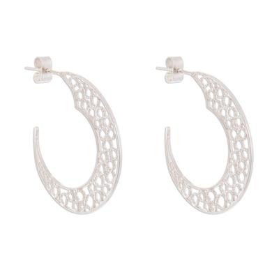 Sterling silver filigree half-hoop earrings, 'Glistening Moons' - Sterling Silver Filigree Half-Hoop Earrings from Peru