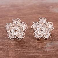 Sterling silver filigree button earrings, 'Intricate Flowers' - Floral Sterling Silver Filigree Button Earrings from Peru