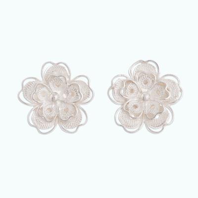 Sterling silver filigree button earrings, 'Intricate Flowers' - Floral Sterling Silver Filigree Button Earrings from Peru