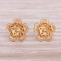 Gold plated sterling silver filigree button earrings 'Intricate Flowers' - Floral Gold Plated Sterling Silver Filigree Button Earrings