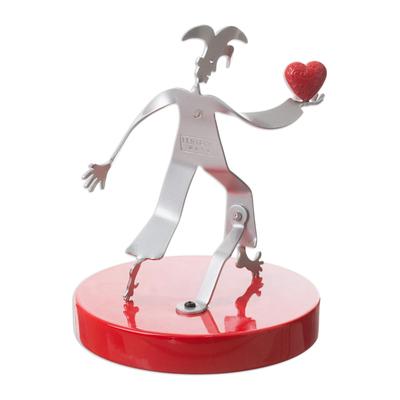 Aluminum sculpture, 'Love Offering' - Aluminum Harlequin Sculpture Offering Red Heart of Love