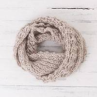 Alpaca blend scarf, 'Fireside Flair in Ivory' - Textured Hand Knit Ivory Alpaca Blend Infinity Scarf