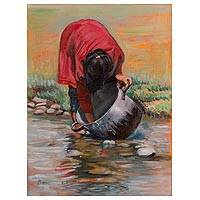 'Washer' - Signed Painting of a Woman Washing a Pot from Peru